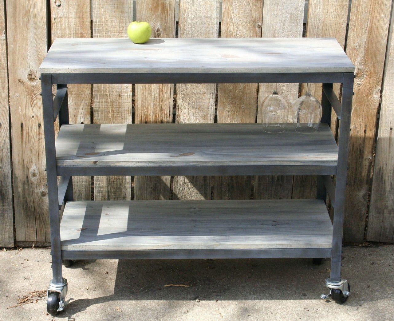 Handmade Rolling Scrap Metal And Wood Table, Wine Cart, Kitchen Cart, Book  Shelf