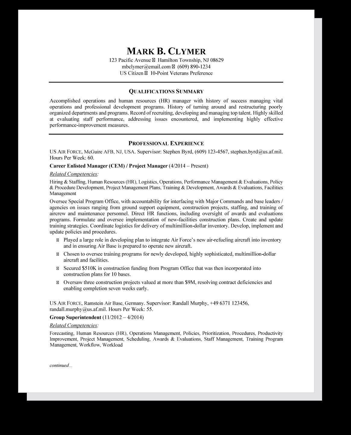Federal Resume Sample in 2020 Federal resume, Job resume