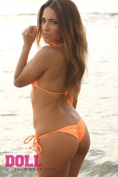 1c497694b86 Venice Solid Neon Orange Triangle Bikini Top & Sexy Micro Scrunch Bottom  Swimsuit