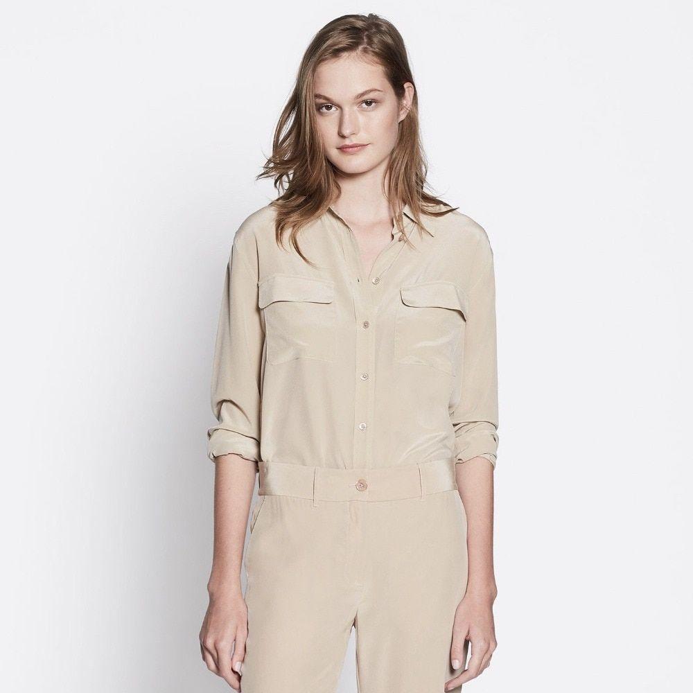 092df33ab43 100% шелковая блузка рубашка шифон blusas Женская Офисная Леди Высокое  качество белый бежевый красный розовый