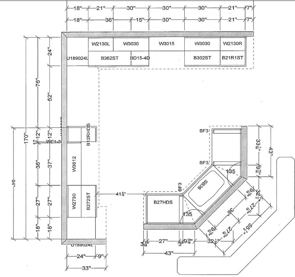 Uppers Depth Kitchen dimensions, Kitchen wall