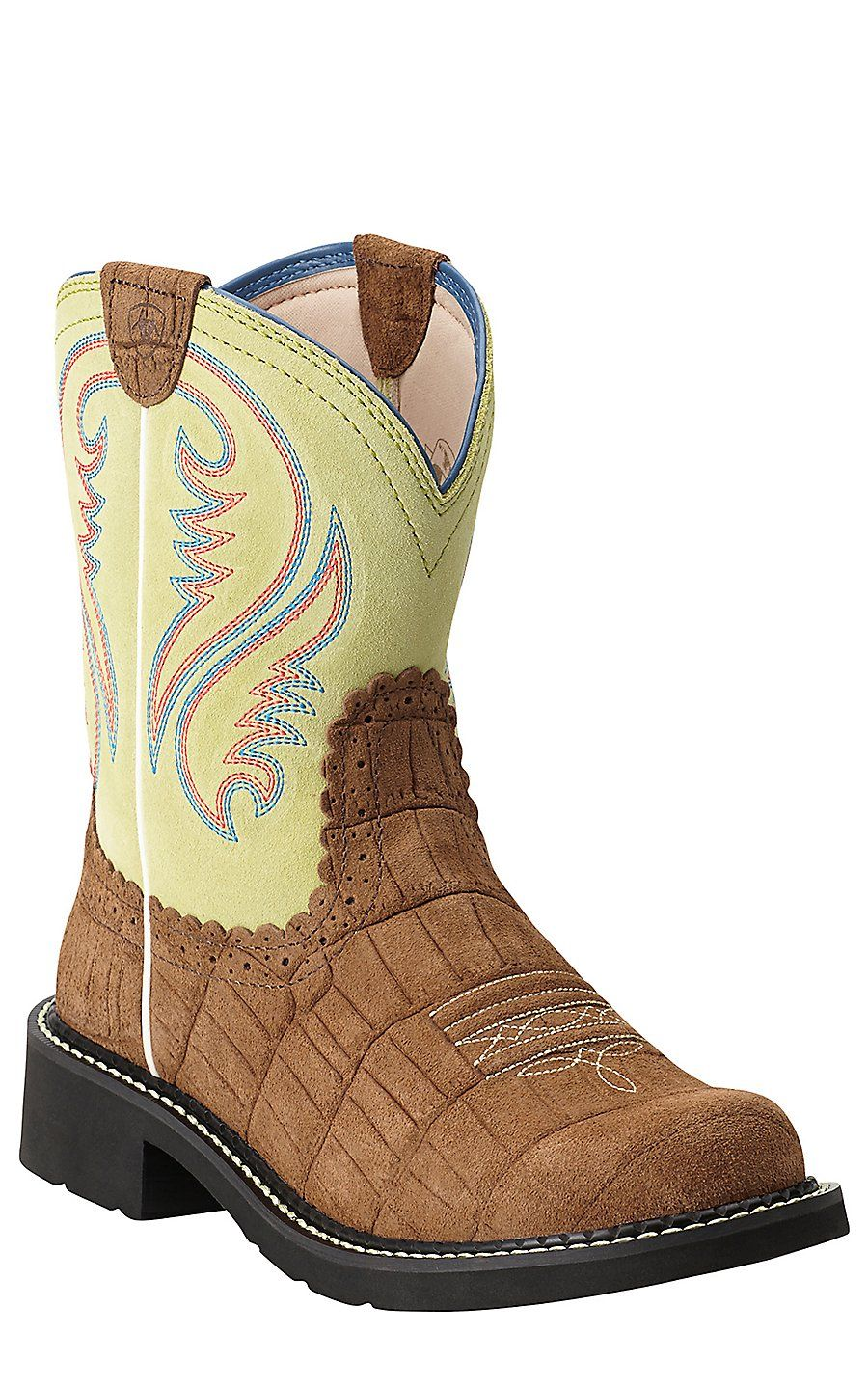 Ariat Womens Brown Boots Fatbaby Heritage Dist Gator Lime