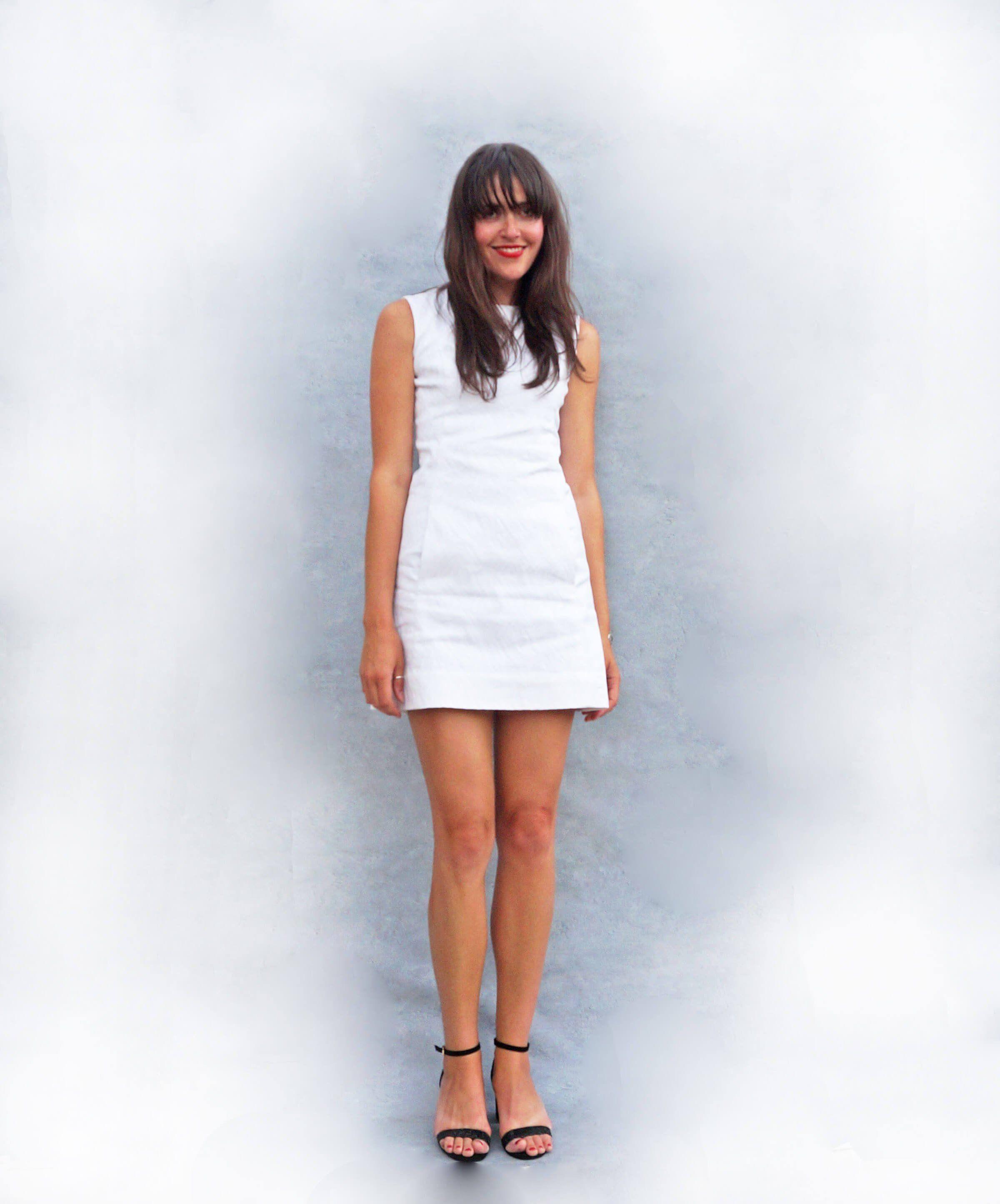 723e7c118101a White Vintage 60s Mod Mini Dress