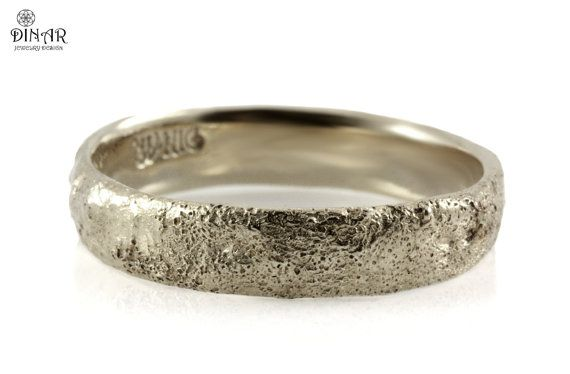 Nature Inspired 18k White Gold Rustic Texture Wedding Ring Etsy In 2020 Antique Wedding Rings Silver Wedding Bands Wedding Rings For Women