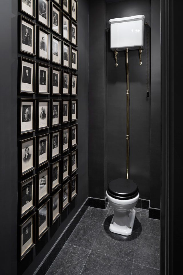 Dark and moody cloakroom with a gallery wall #wallcollage