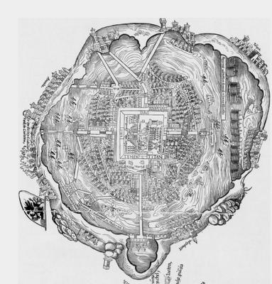 Map Of Tenochtitlan Nuremberg 1524 Wall Art Prints Canvas Print Wall City