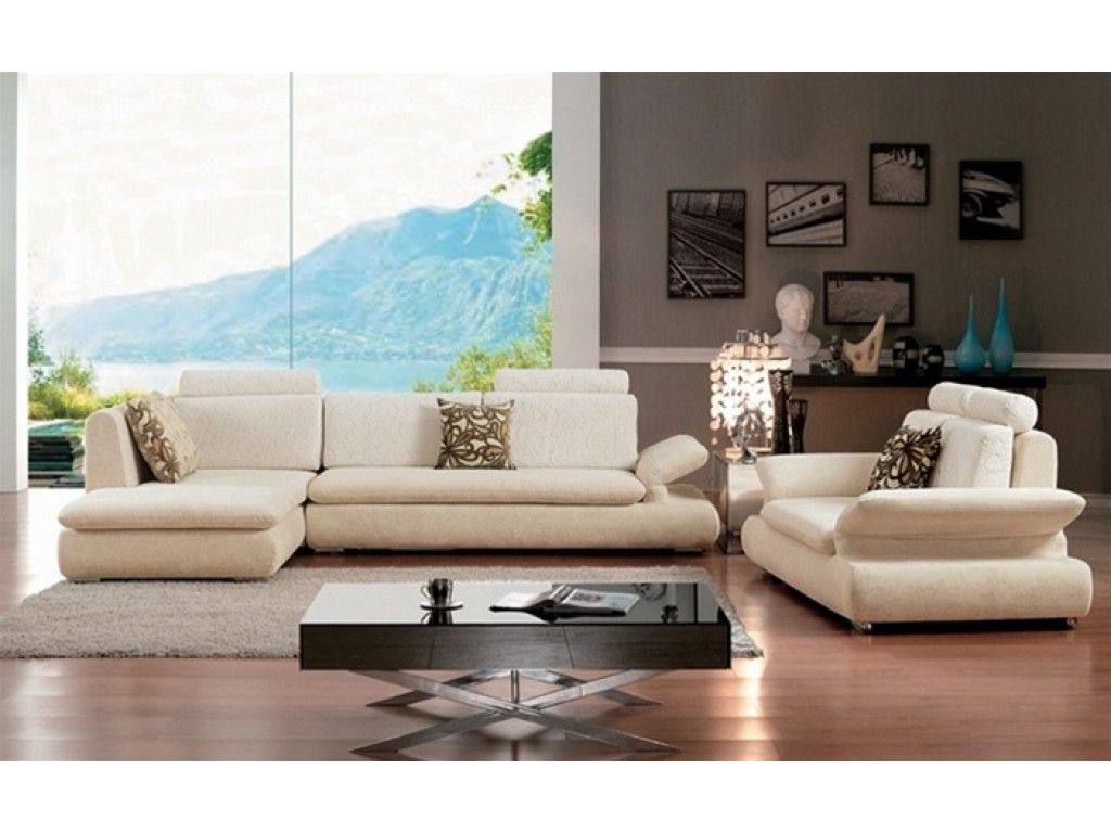 Contemporary White Microfiber Sectional Sofa W Contoured Armrests