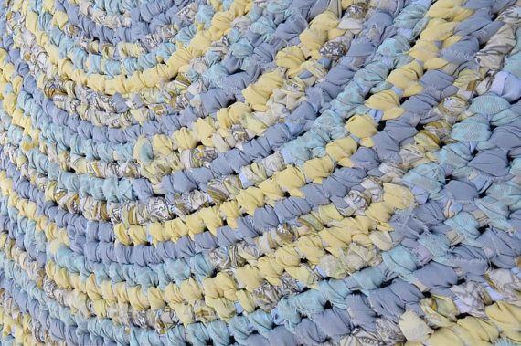 Large Round Area Rag Rug In Yellow Blues Bluish Gray