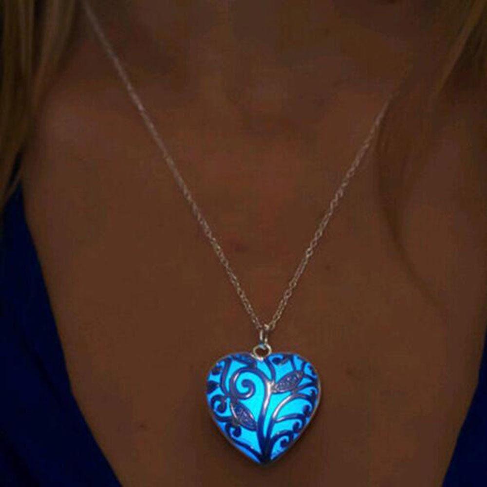 New Glow In Dark Locket Hollow Glowing Stone Luminous Choker Pendant Necklace ~