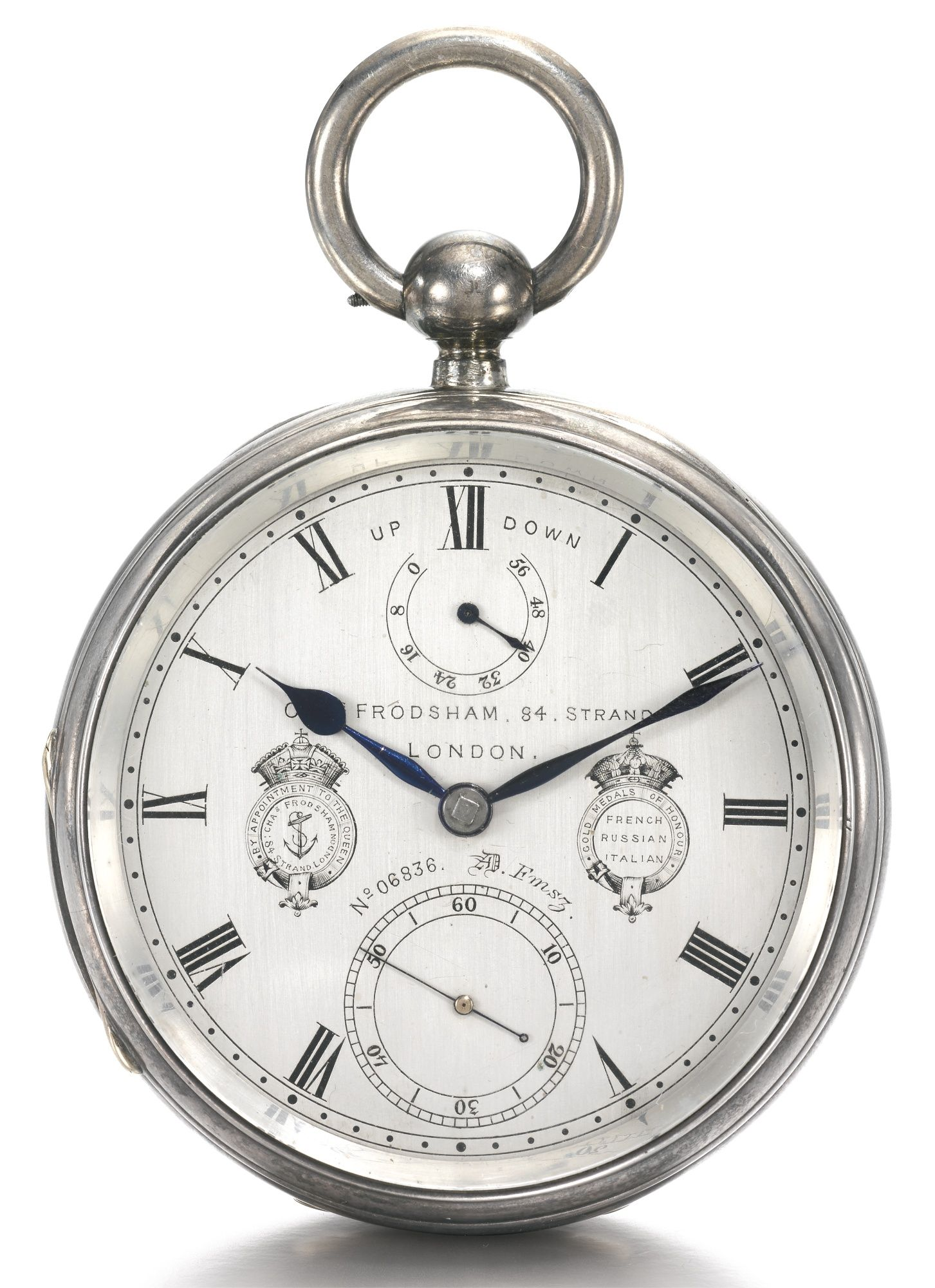 Charles Frodsham, London AN EXCEPTIONAL AND LARGE SILVER OPENFACE TWO DAY CHRONOMETER DECK WATCH WITH UP AND DOWN INDICATOR AND DUO-IN-UNO HAIRSPRING 1884, NO. 06836 AD FMSZ