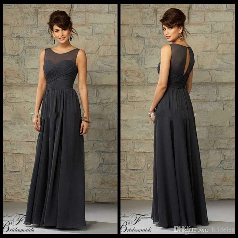 A line illusion neckline sheer keyhole back floor length for Charcoal dresses for weddings
