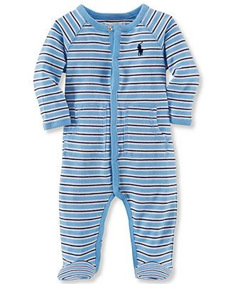 9f4c36b3e83 Ralph Lauren Baby Boys Striped Footed Cotton Coverall ...