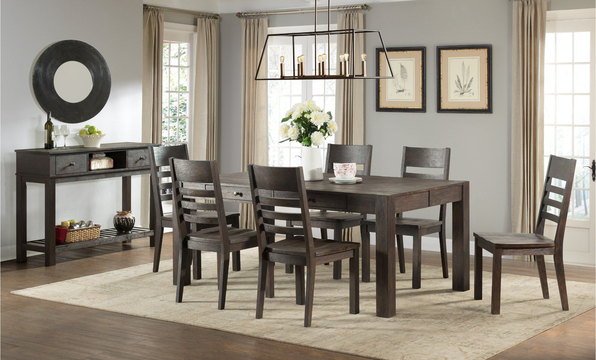 Brushed cocoa farmhouse 6 piece dining set salem in 2021
