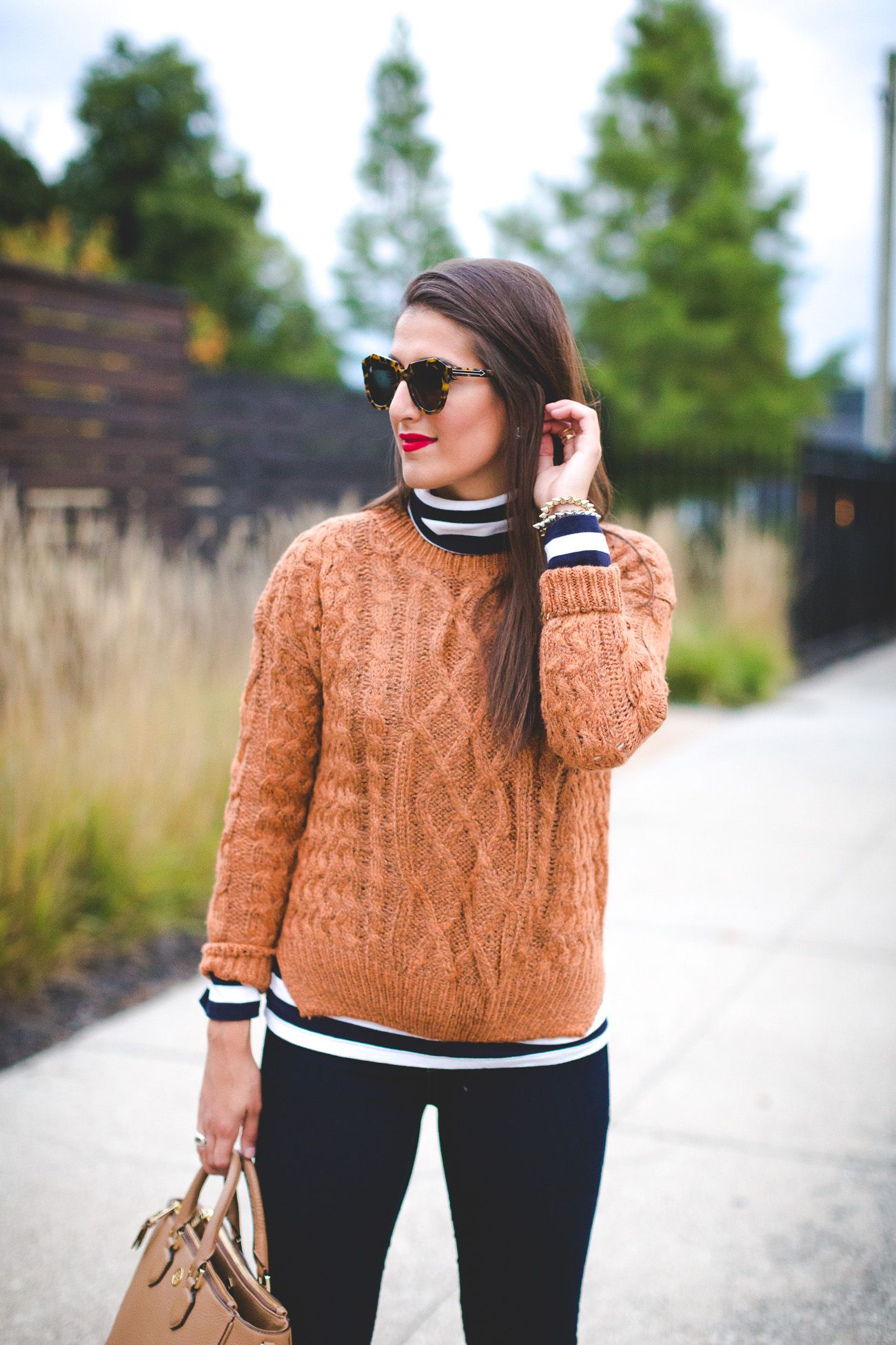 Fall Layers | Striped turtleneck, Brown booties and Cable knit ...