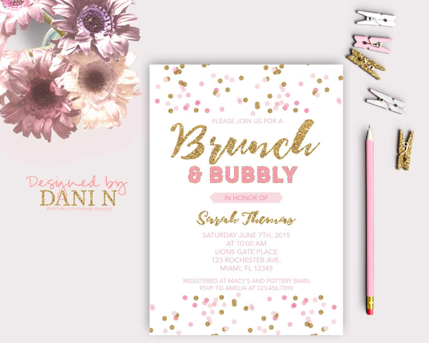 New to DesignedbyDaniN on Etsy: Pink Gold Bridal Shower Party ...