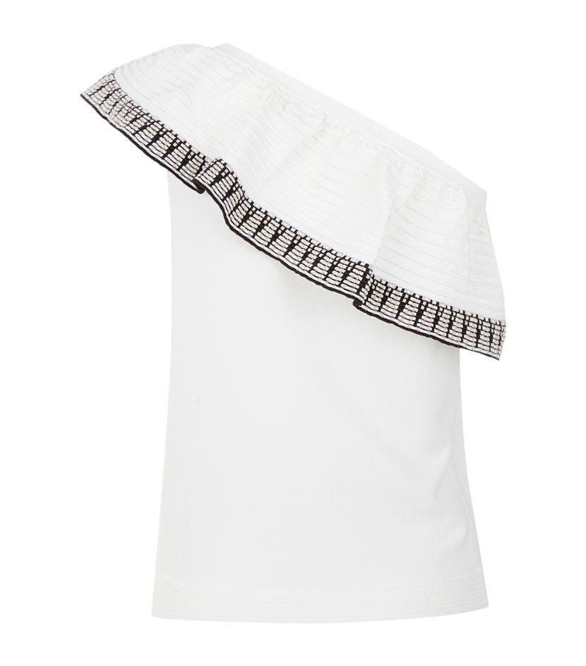 e0d379b4d70360 Maje Mashup Asymmetric Ruffle Knit Top