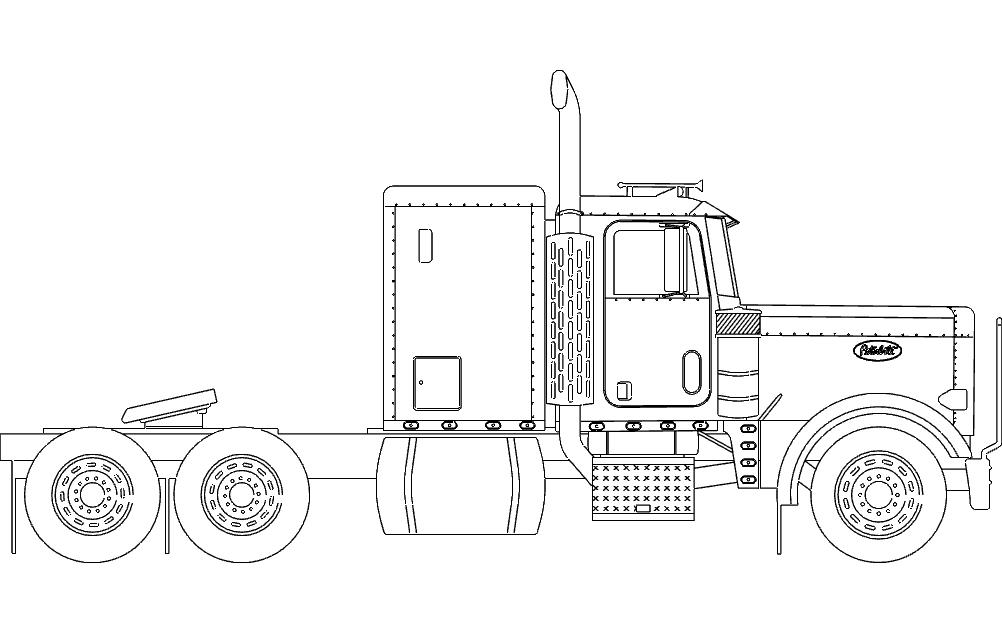 18 Wheeler Truck dxf File Free Download