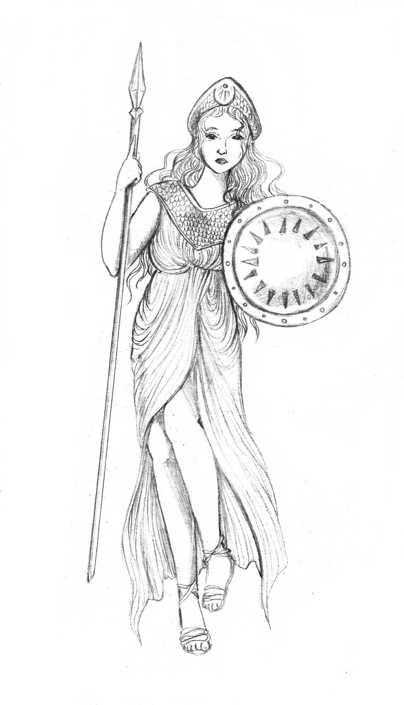 Athena Athena Goddess Drawings Animal Drawings