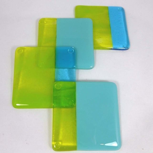 Fused Glass Coasters with Turquoise and Zingy Lime Green combo - set of 4 £25.00