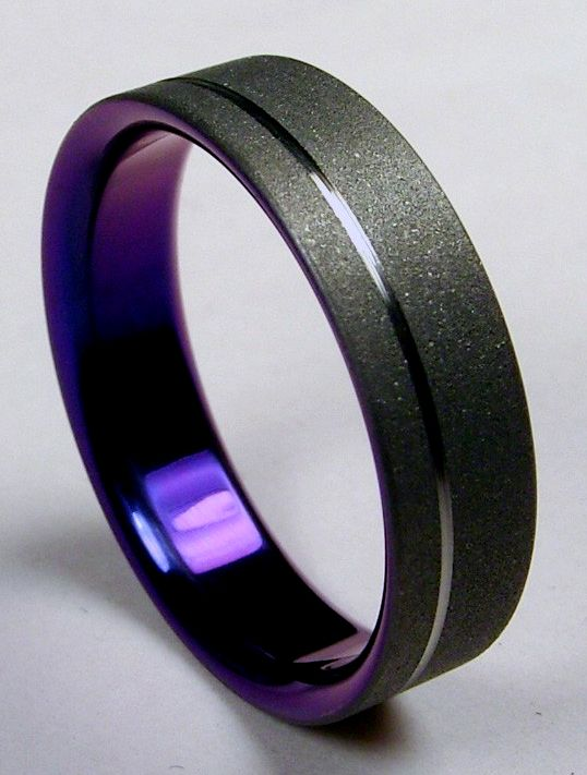 Mens Wedding Band Burnished Grey Titanium On The Outside Purple Titanium On The Inside Unconventional Wedding Rings Rings For Men Mens Wedding Rings