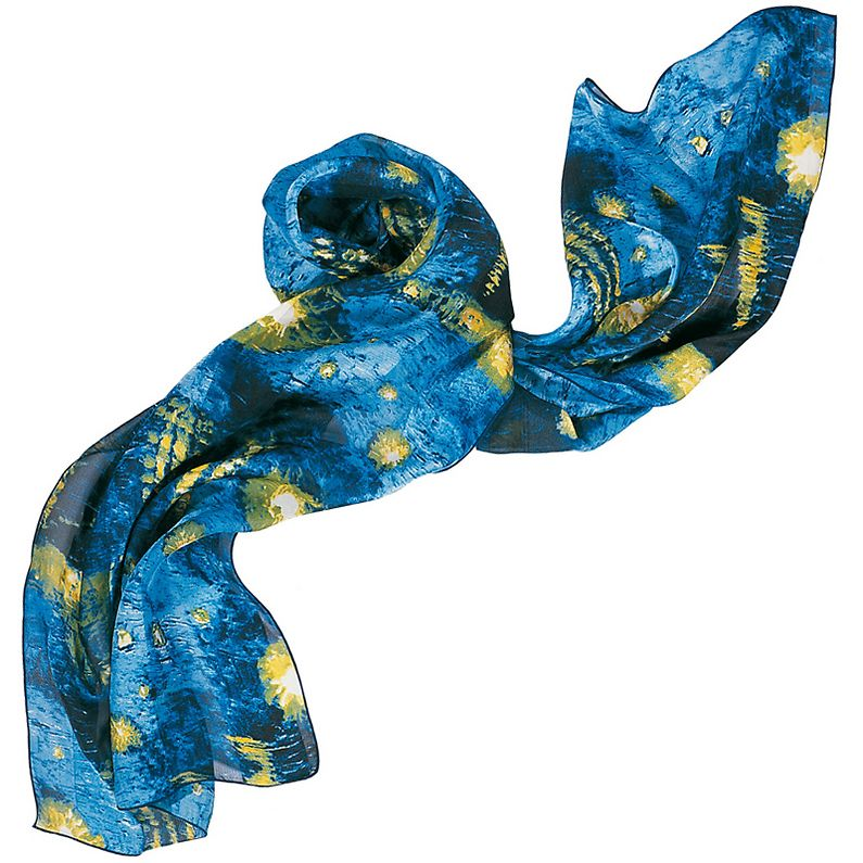 Starry night stole, silk with satin strips, this stole is inspired by the famous work Starry night in Arles painted by Vincent Van Gogh (1853-1890).