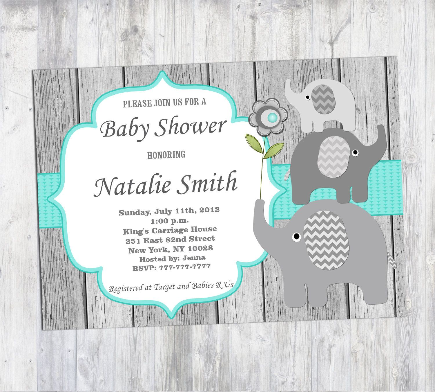Rustic Baby Shower Invitation Boy Elephant Baby Shower Invitation