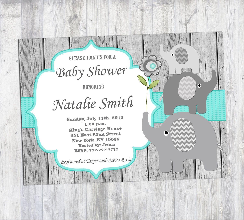 Rustic Baby Shower Invitation Boy Elephant Baby Shower Invitation ...