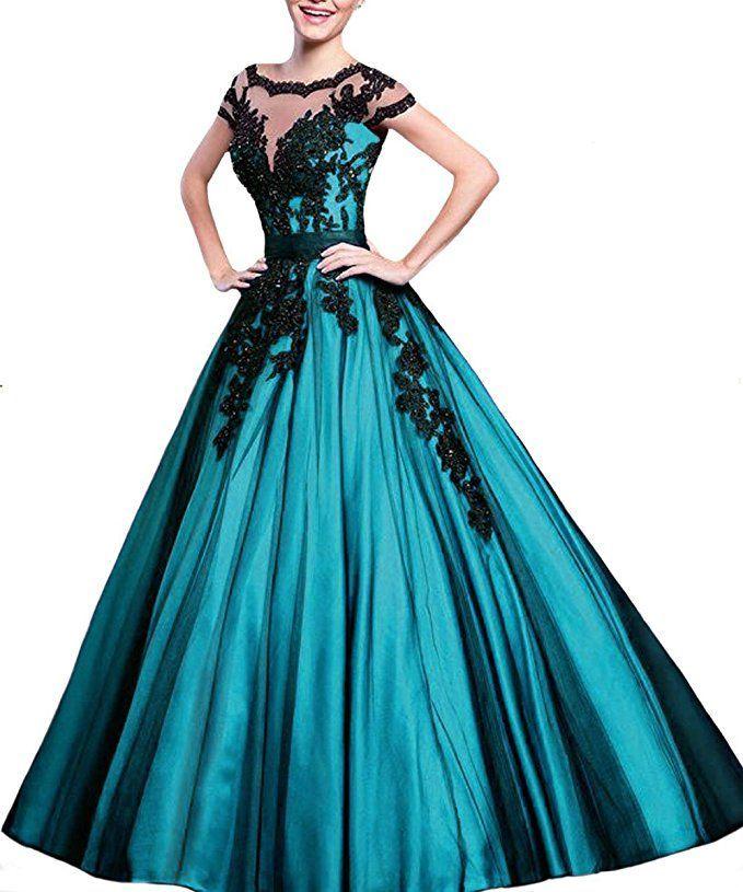Prinzessin Ballkleid in türkis - schwarz. Das elegante Abendkleid in angesagter A-Linie kann