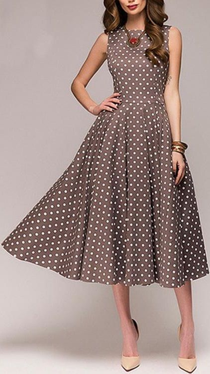 Women Crew Neck Sleeveless Paneled Polka Dots Prom Elegant Plus Size Dress Kleider Sommer Kleider Kleider Mode
