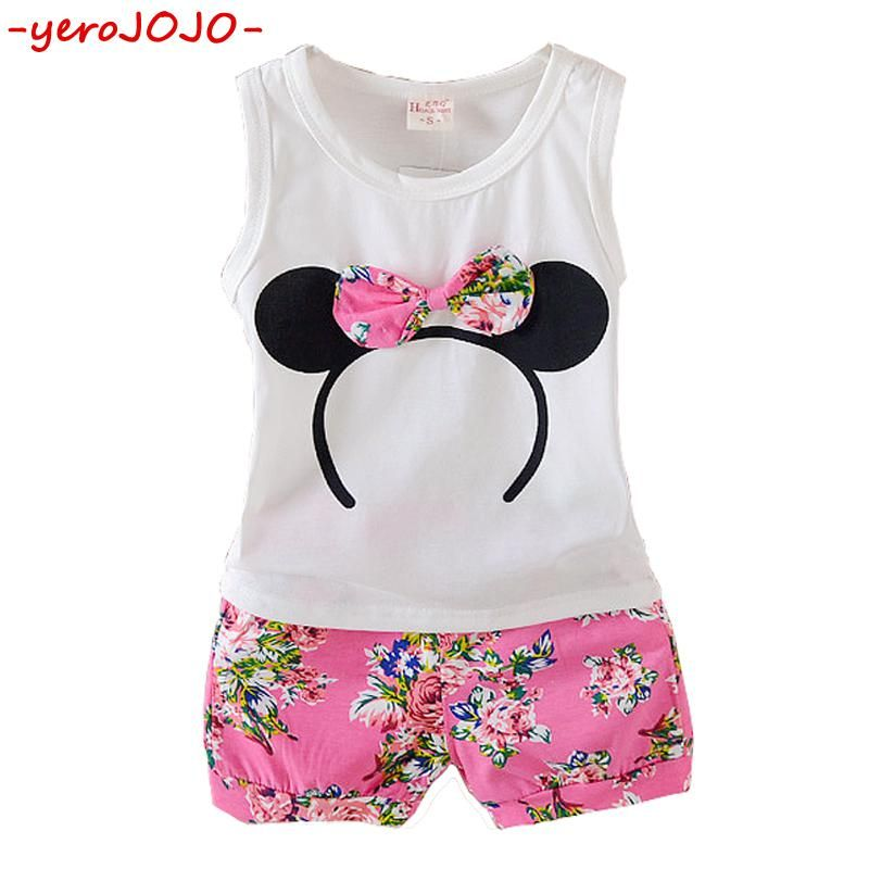 9eb06842d5d8 Multi-colored Girls Summer Sleeveless Outfits Baby Girl Minnie Vest Top+Bowtie  Shorts Pants