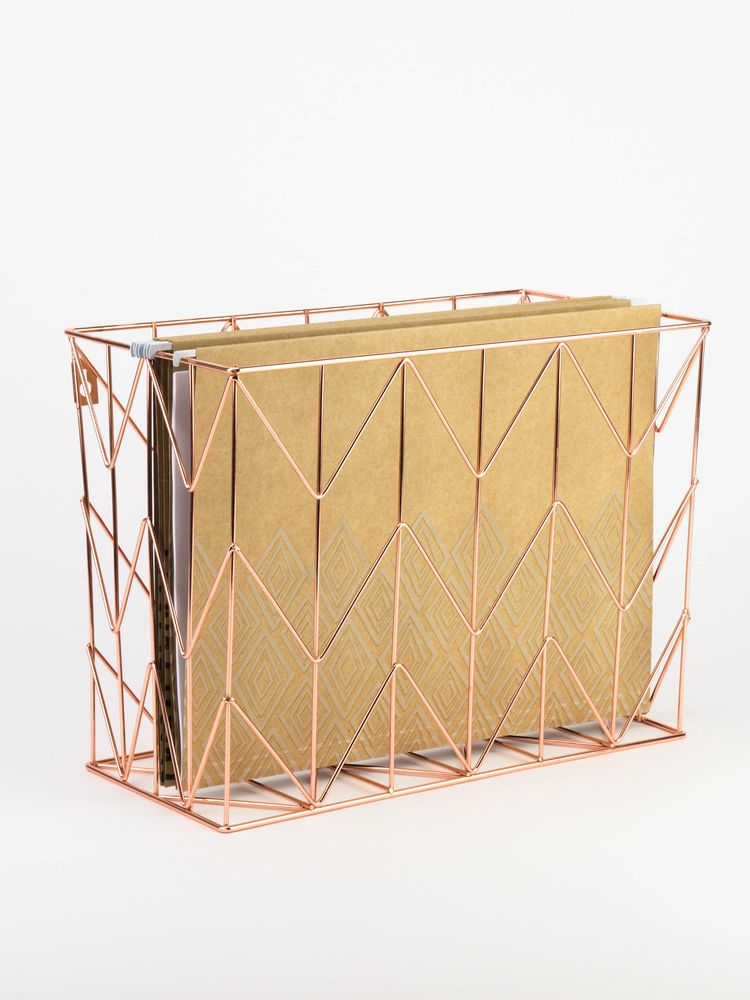 Copper Wire Hanging File Basket Copper Accessories Desk Organization Hanging Files