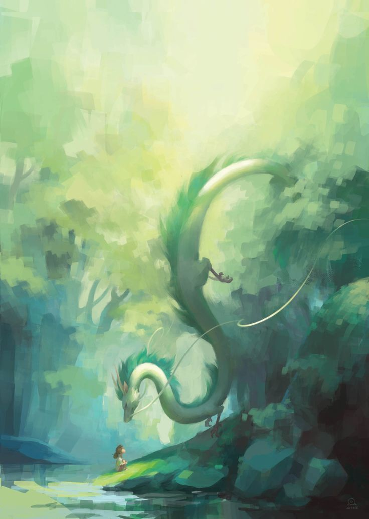 Haku Spirited Away Studio Ghibli Ovie Miyazaki White And Green Long Giant Dragon Fan Art Studio Ghibli Movies Studio Ghibli Art Studio Ghibli