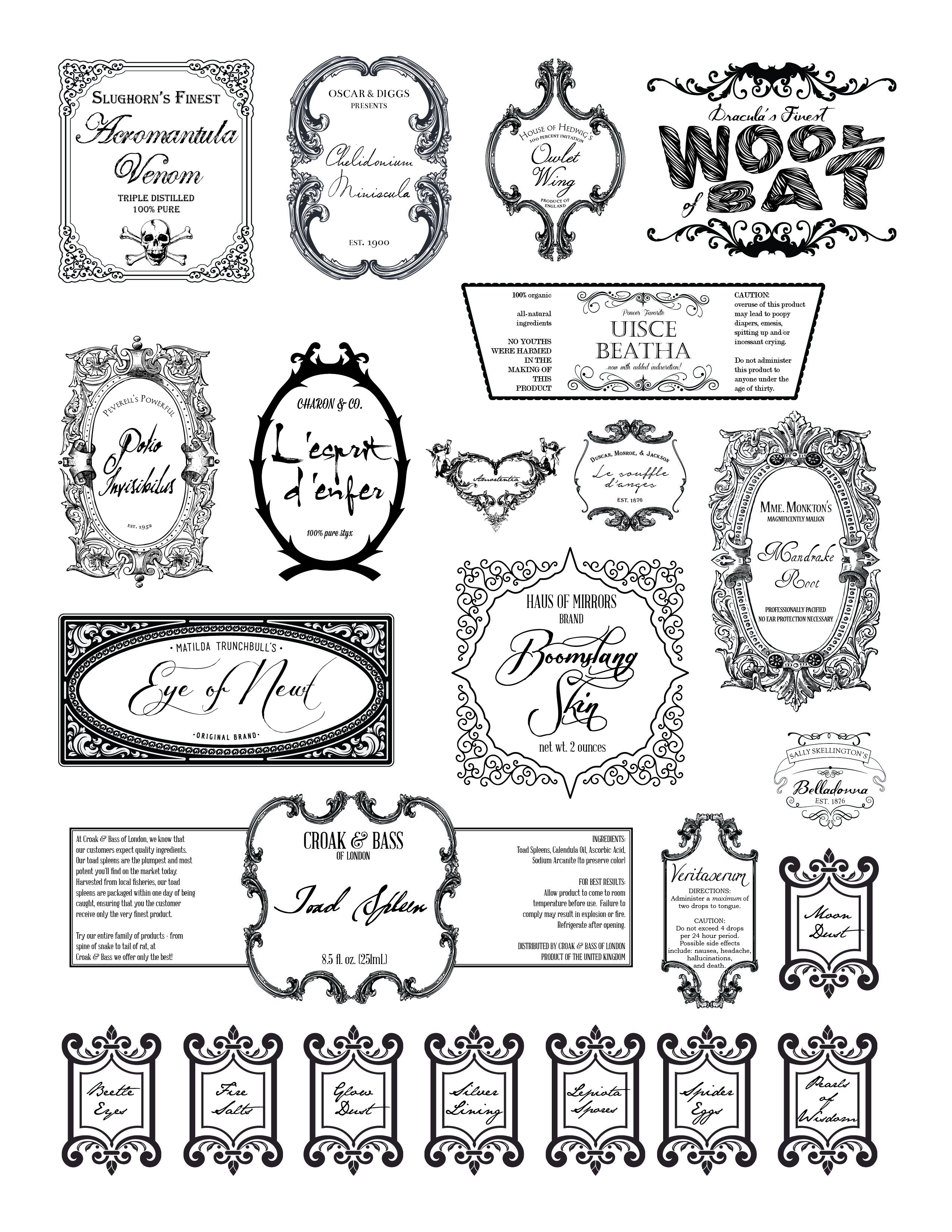 harry potter potion labels - Google Search | Wizarding World ...