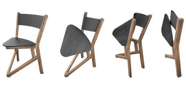 Solid wood LADU chair folds flat for easy storage Interesting