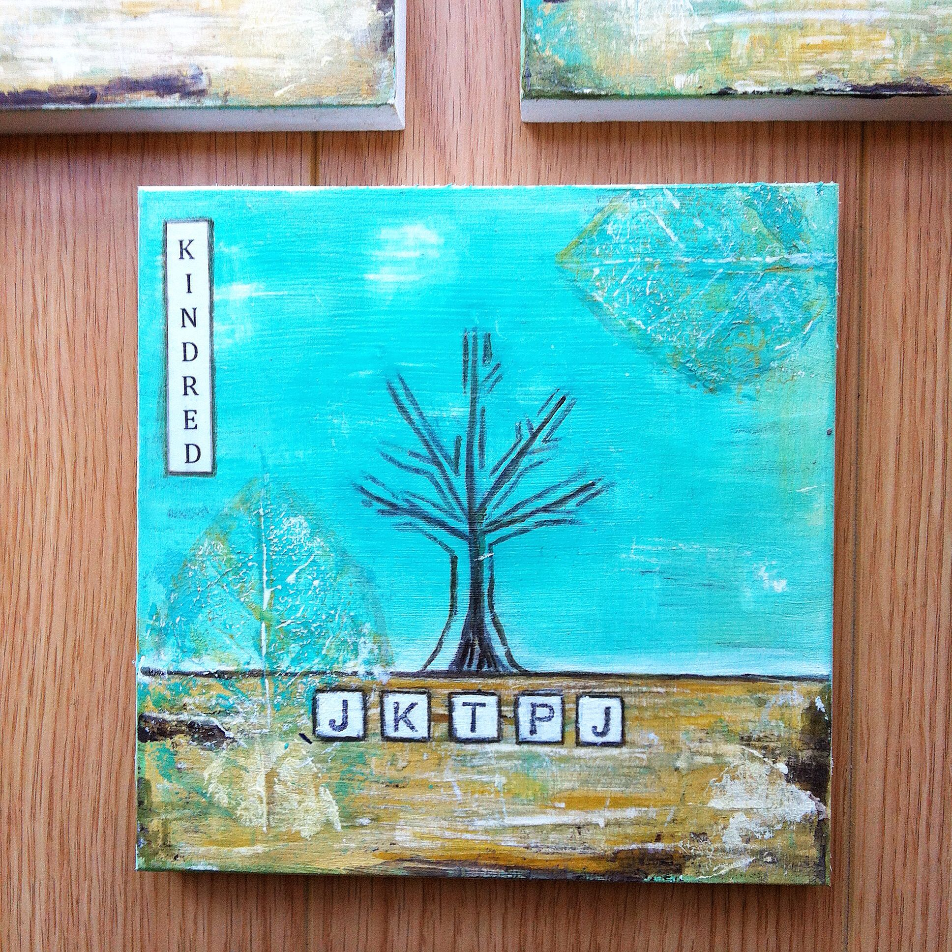 Custom art work representing a family tree of cousins by wood