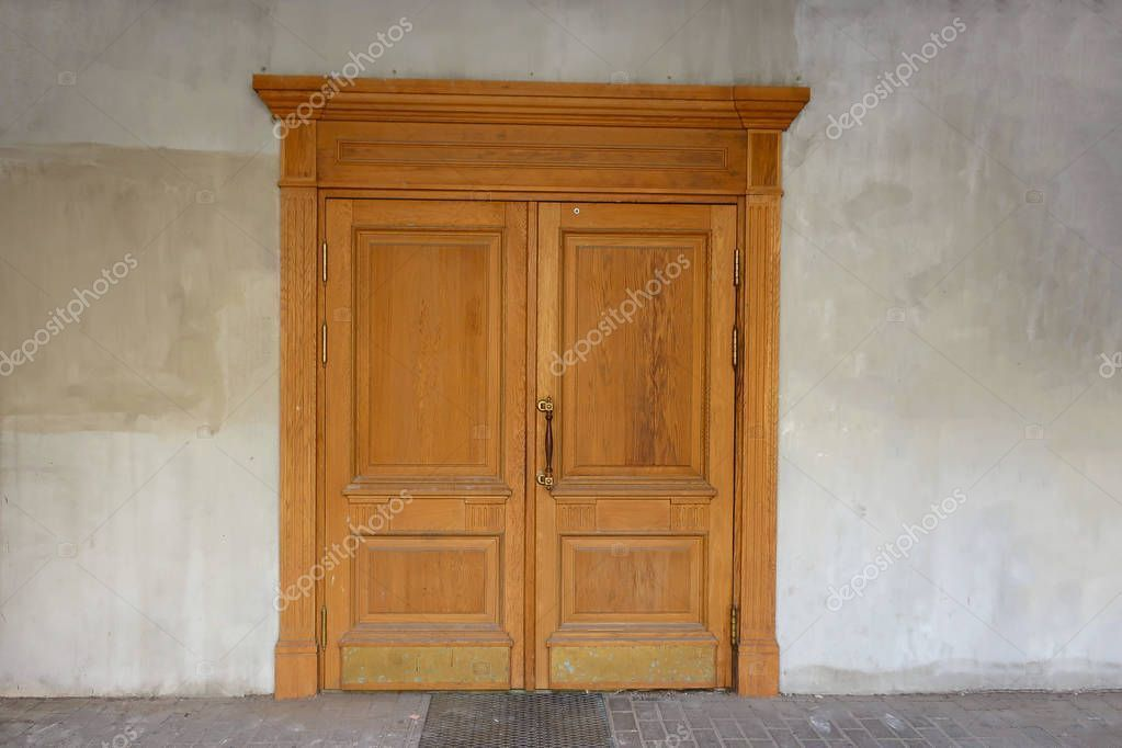 Photo of Yellow Double Leaf Wooden Door Gray Nondescript Cement Wall – Stock Photo , #aff…