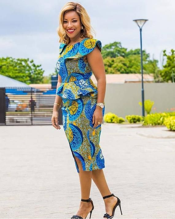 African Print Senegal Midi Dress: Classy African Midi Dress, Ankara Dress