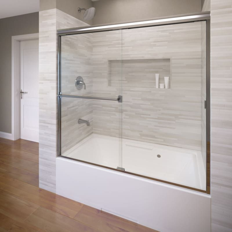 Basco 3400 56scl Classic 56 High X 56 Wide Bypass Framed Tub Door With Clear G Silver Showers Shower Doors Sliding Bathtub Doors Frameless Shower Doors Shower Doors