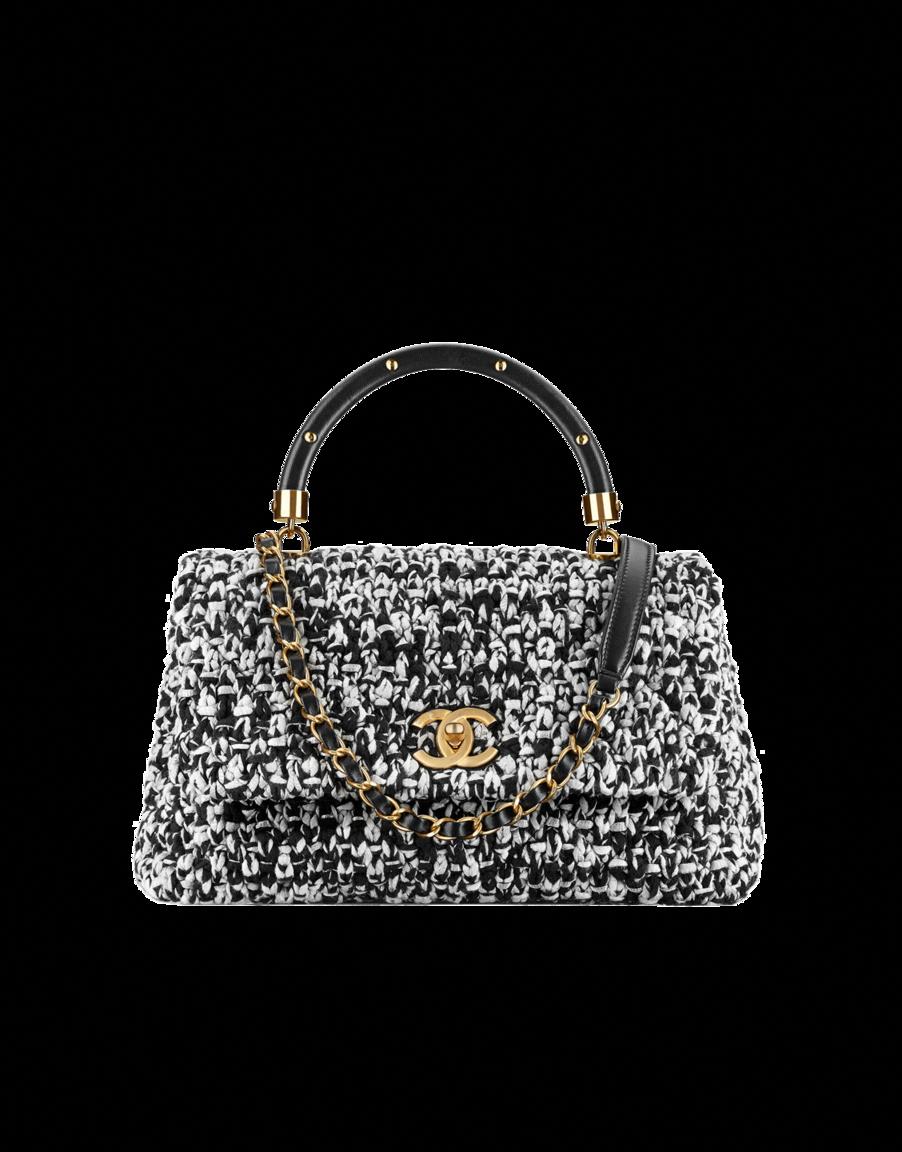 8f86e2708 Flap bag with top handle, crochet, lambskin & gold-tone metal-black & beige  - CHANEL #Chanelhandbags