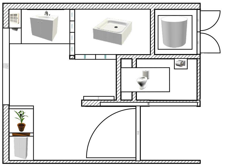 Aménagement d\u0027une salle de bain et de toilettes - Plan réalisée avec - logiciel plan de maison