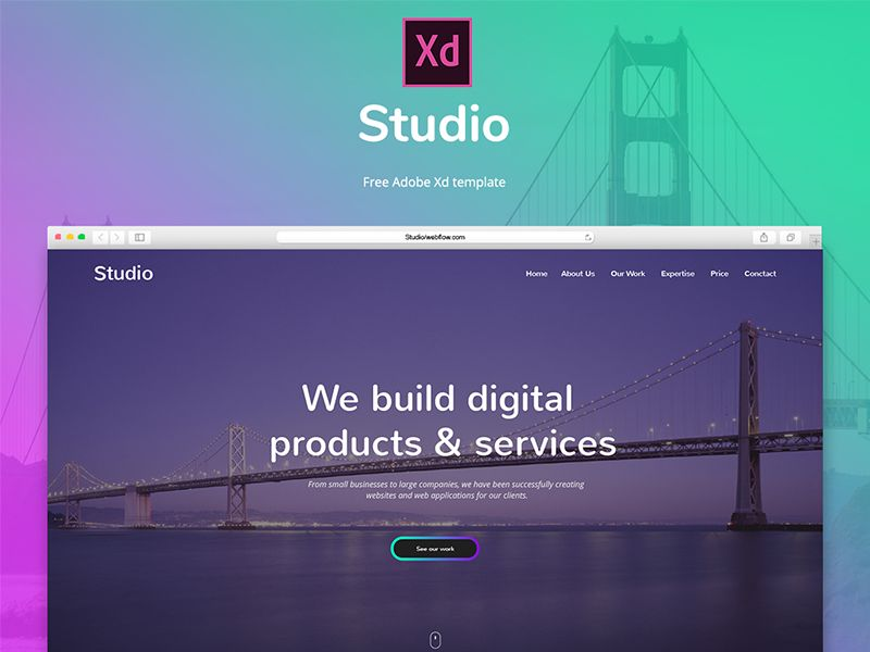Studio Free Adobe Xd Template Adobe Xd Templates Free Design Web App Design