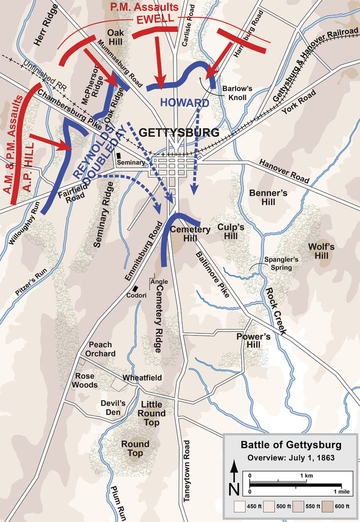 Gettysburg Battle Map Day Overview Map Of The First Day Of The - Battle of gettysburg map us