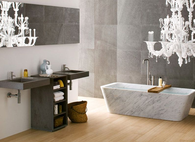 Stylish Bathrooms Pleasing Sleek And Stylish Bathroom With Marble Bathtub And Walls