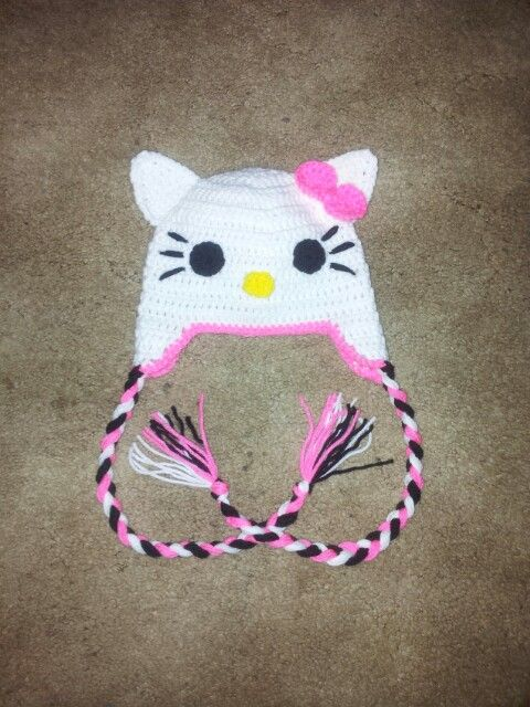 Crochet Hello Kitty Hat (With images) | Crochet projects ...