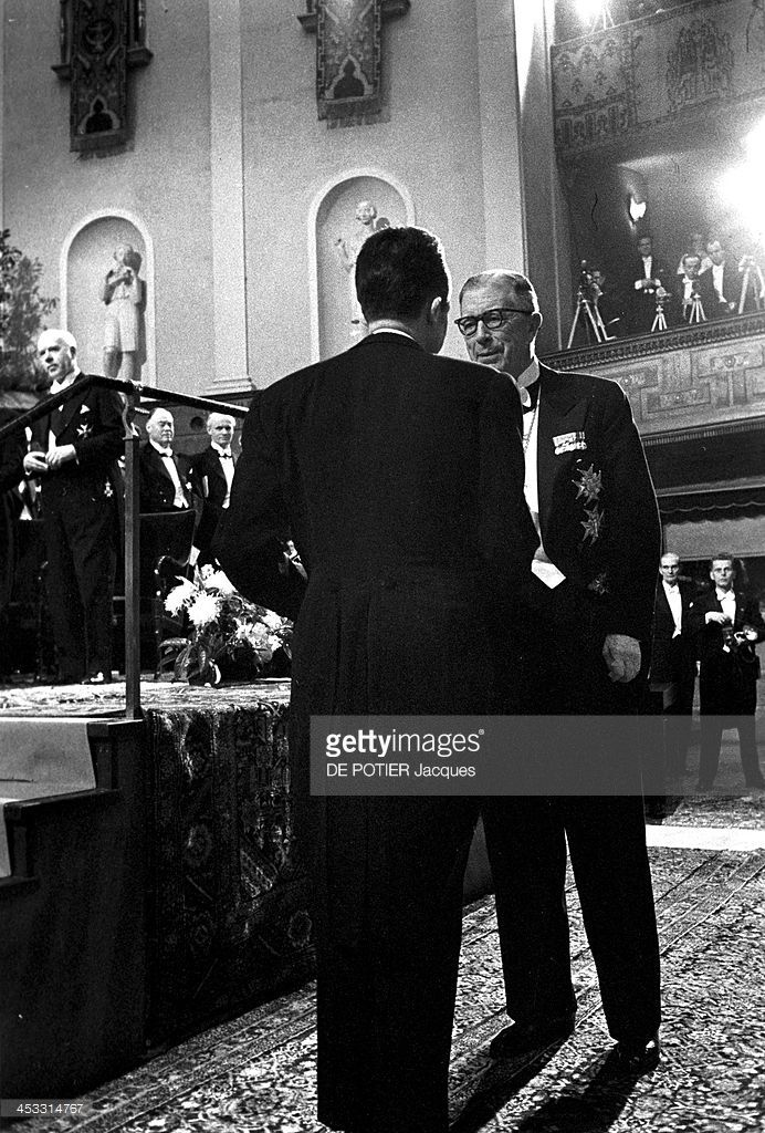 The French Writer Albert Camus Nobel Prize For Literature Received His Diploma From King Gustav VI Of Sweden During Ceremony At Concert Hall On