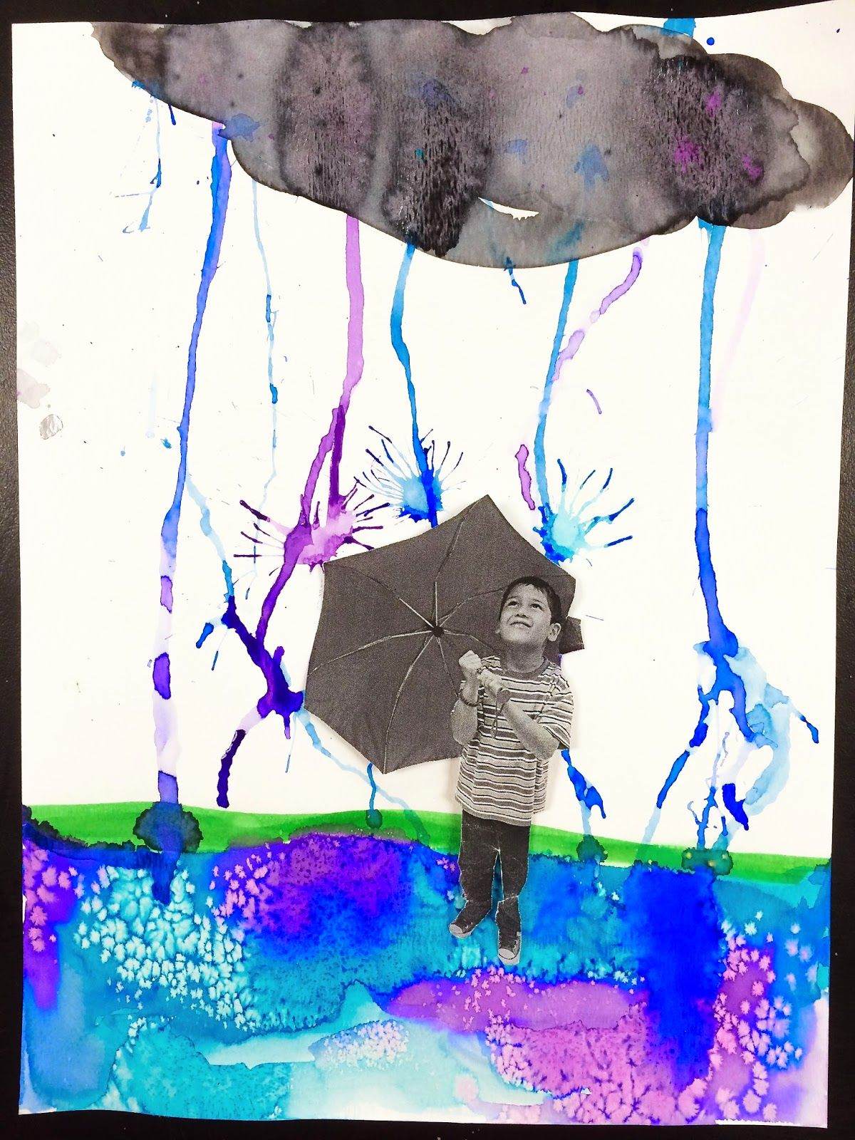 april showers and jellyfish watercolor resist smart class collage basteln mit kindern und. Black Bedroom Furniture Sets. Home Design Ideas