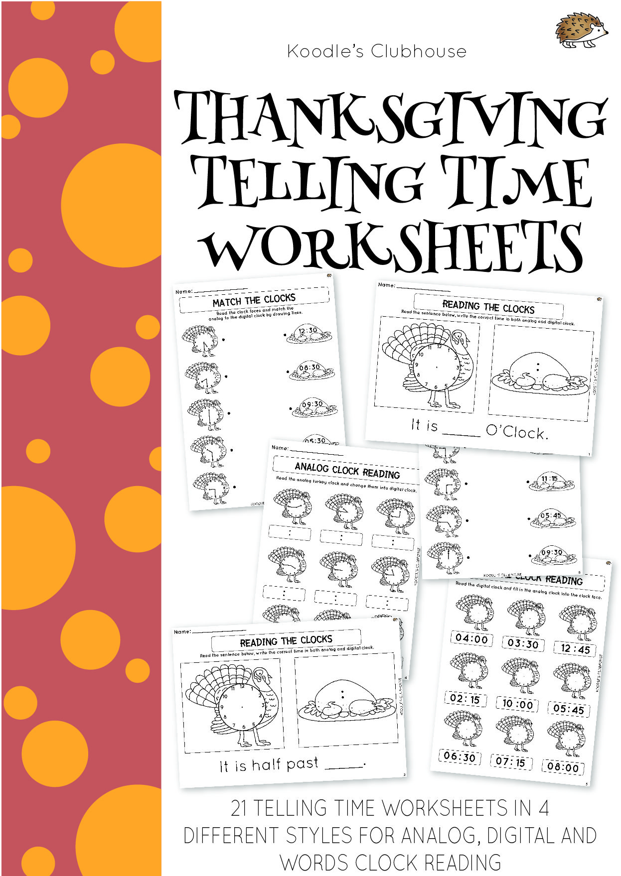 Thanksgiving Telling Time Worksheets With Images