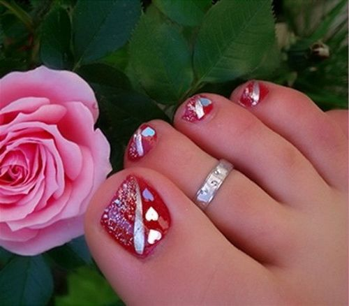 Toe Nail Designs Tumblr Red Silver Holiday Christmas Valentines