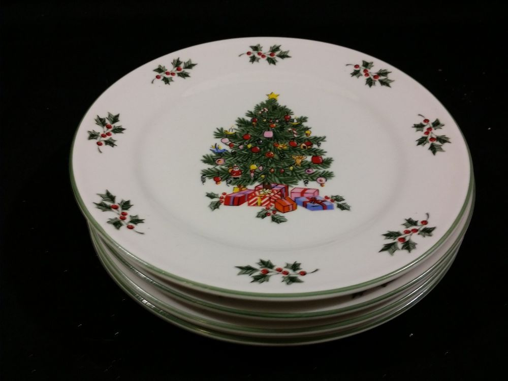 New ~ Gibson Noel Morning Christmas Tree Dishes ~ Lot / Set of 4 ...
