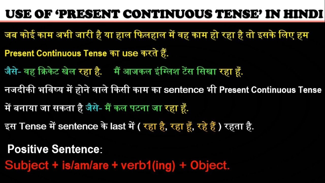 Present Continuous Tense In Hindi With Images Present